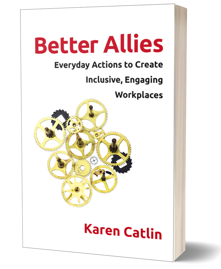 Picture of the book Better Allies: : a white cover with red text and gold and black gears of different shapes on it