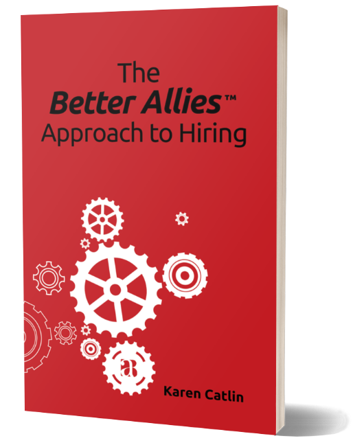 Picture of the Better Allies Approach to Hiring book: a red cover with black text and white gears of different shapes on it