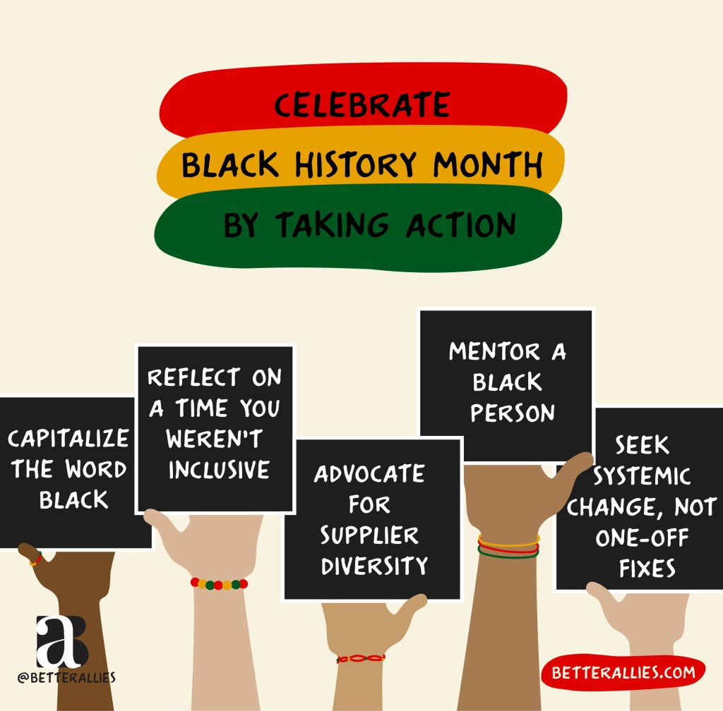 Illustration titled Celebrate Black History Month By Taking Action with the title words in ovals that are the colors of the Black History Month flag (red, yellow, and green). Five arms in varied skin tone from pale to dark, some wearing bracelets and rings in the BLH flag colors, holding black signs that read Capitalize the word Black, Reflect on a time you weren't inclusive, Advocate for supplier diversity, Mentor a Black person, and Seek systemic change, not one-off fixes. In the lower corners are the better allies logo and a red bubble with betterallies.com.