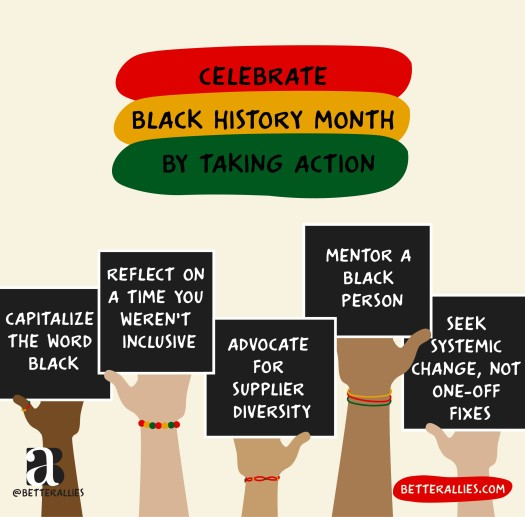 "Illustration titled 'Celebrate Black History Month By Taking Action' with the title words in ovals that are the colors of the Black History Month flag (red, yellow, and green). Five arms in varied skin tone from pale to dark, some wearing bracelets and rings in the BLH flag colors, holding black signs that read  Capitalize the word Black, Reflect on a time you weren't inclusive, Advocate for supplier diversity,"" Mentor a Black person, and Seek systemic change, not one-off fixes. In the lower corners are the better allies logo and a red bubble with betterallies.com."