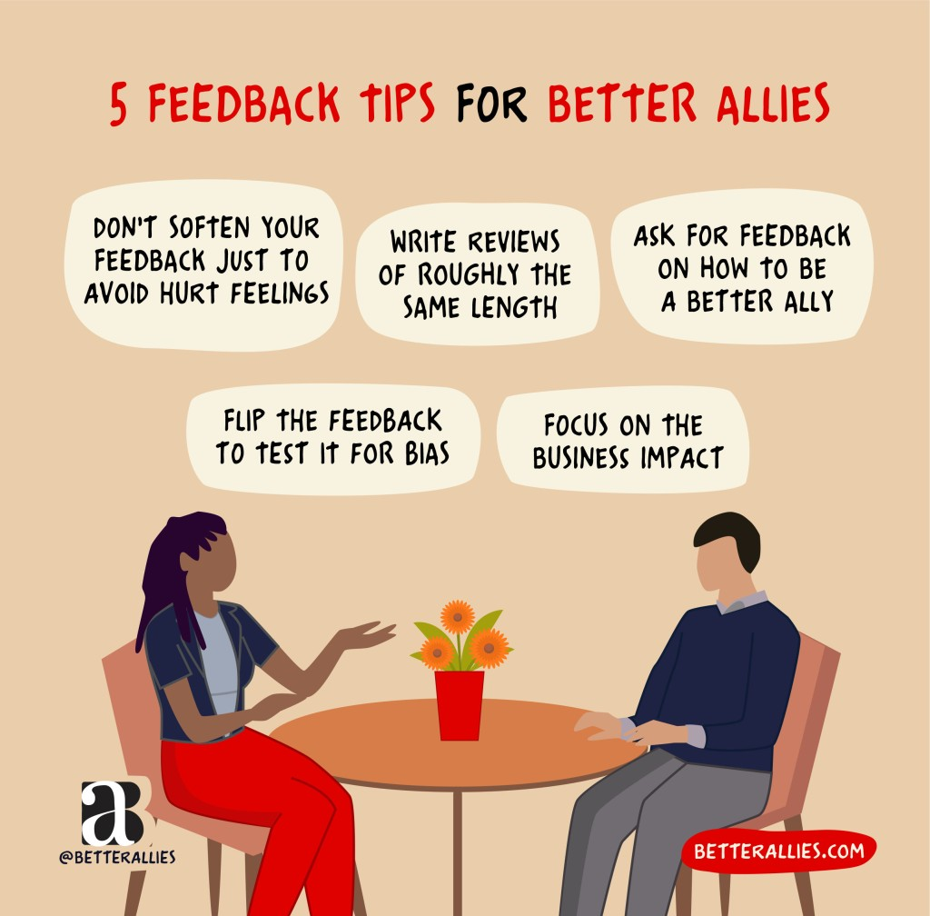 Drawing of a Black person and a white person at a table. Title: 5 Feedback Tips for Better Allies, with text bubbles above the people with the phrases Don't soften yourfeedback just to avoid hurt feelings, Write reviews of roughly the same length, ask for feedback on how to be a better ally, flip the feedback to test it for bias, focus on the business impact. In the lower corners are the better allies logo and a red bubble with betterallies.com.