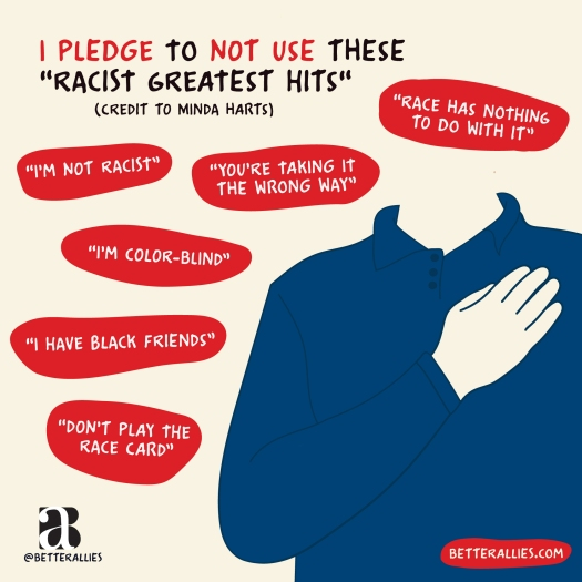 Illustration titled I pledge to not use these racist greatest hits (Credit to Minda Harts). A person with white skin is holding their hand over their heart. Surrounding them are red text bubbles reading I'm not racist, You're taking it the wrong way, Don't play the race card, Race has nothing to do with it, I have Black friends, I'm color-blind. In the lower corners are the better allies logo and a red bubble with betterallies.com.